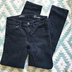 Jcrew matchstick black denim jeans 27